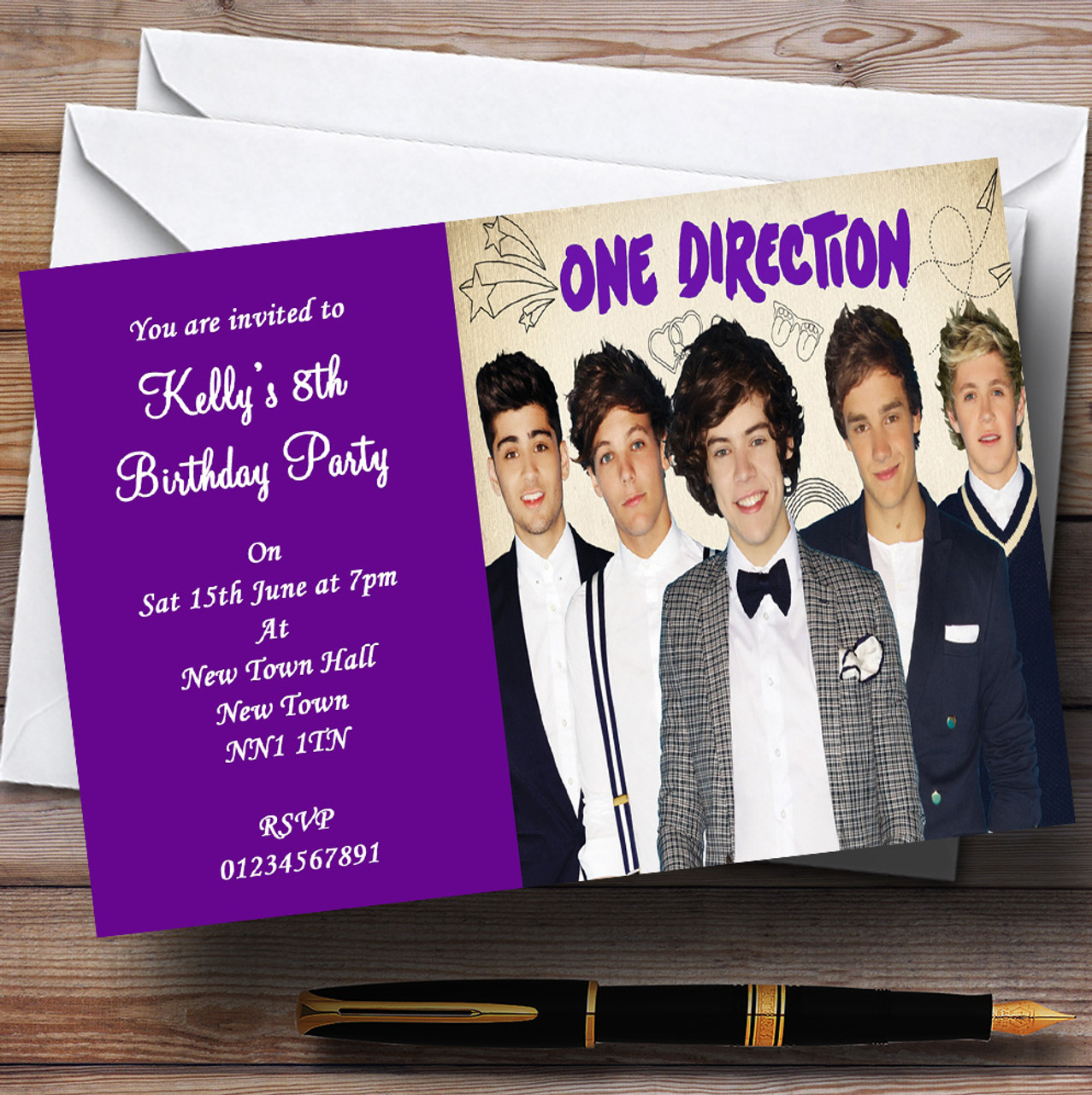 Purple One Direction D Personalised Childrens Party Invitations – One Direction Personalised Birthday Card