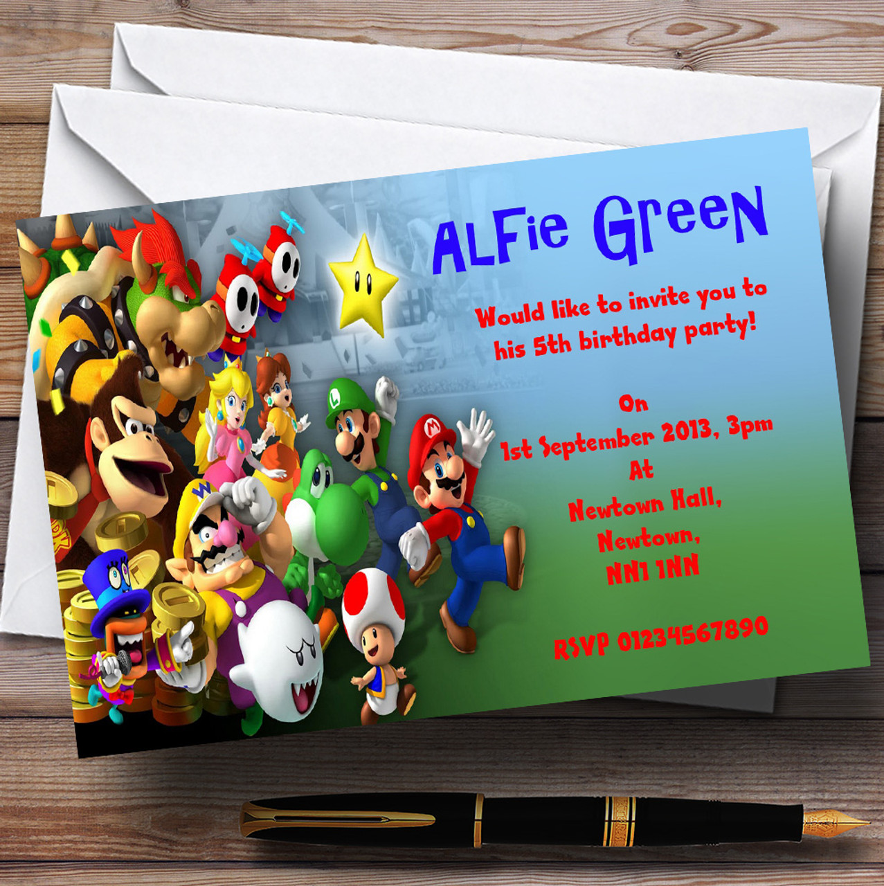 Super Mario Bros Luigi Nintendo Personalised Childrens Party – Super Mario Bros Party Invitations