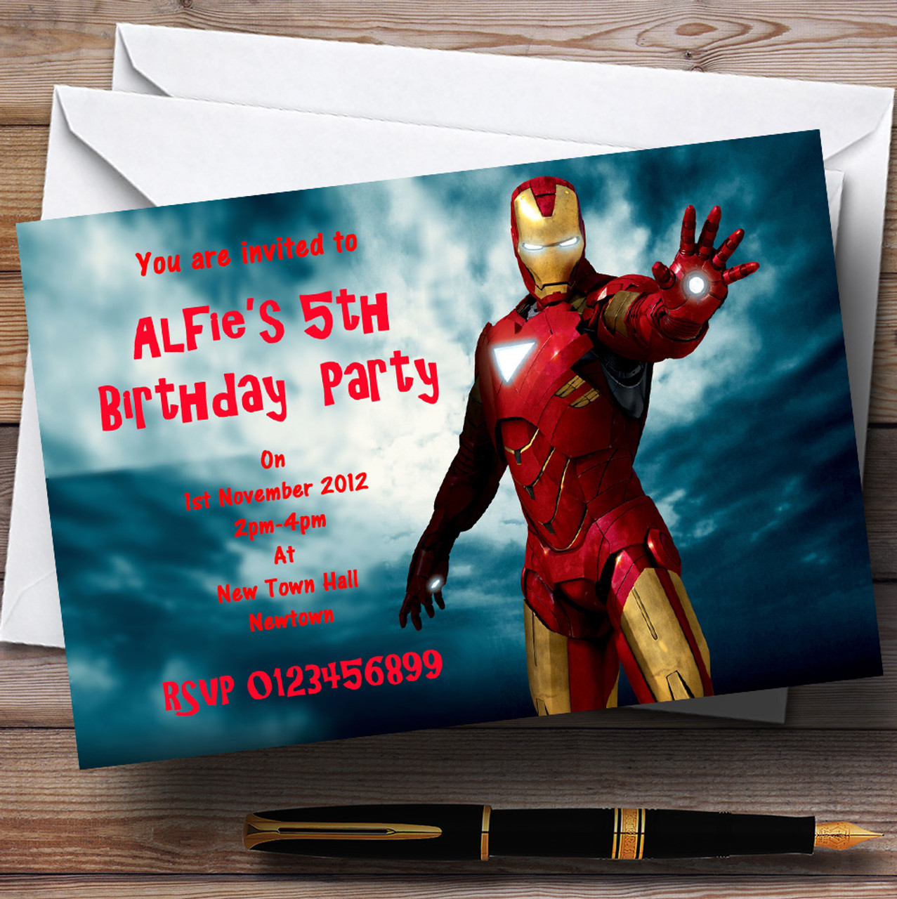 Iron Man Personalised Children\'s Party Invitations - The Card Zoo