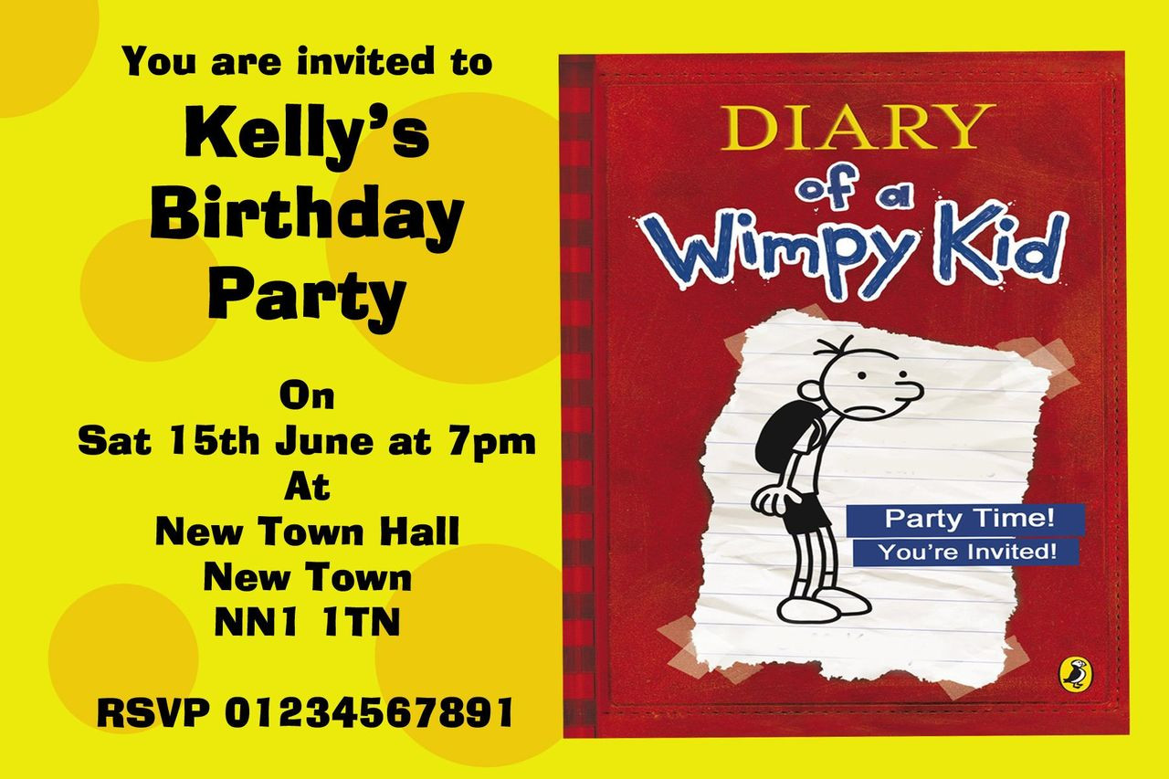 Diary Of A Wimpy Kid Personalised Party Invitations - The Card Zoo