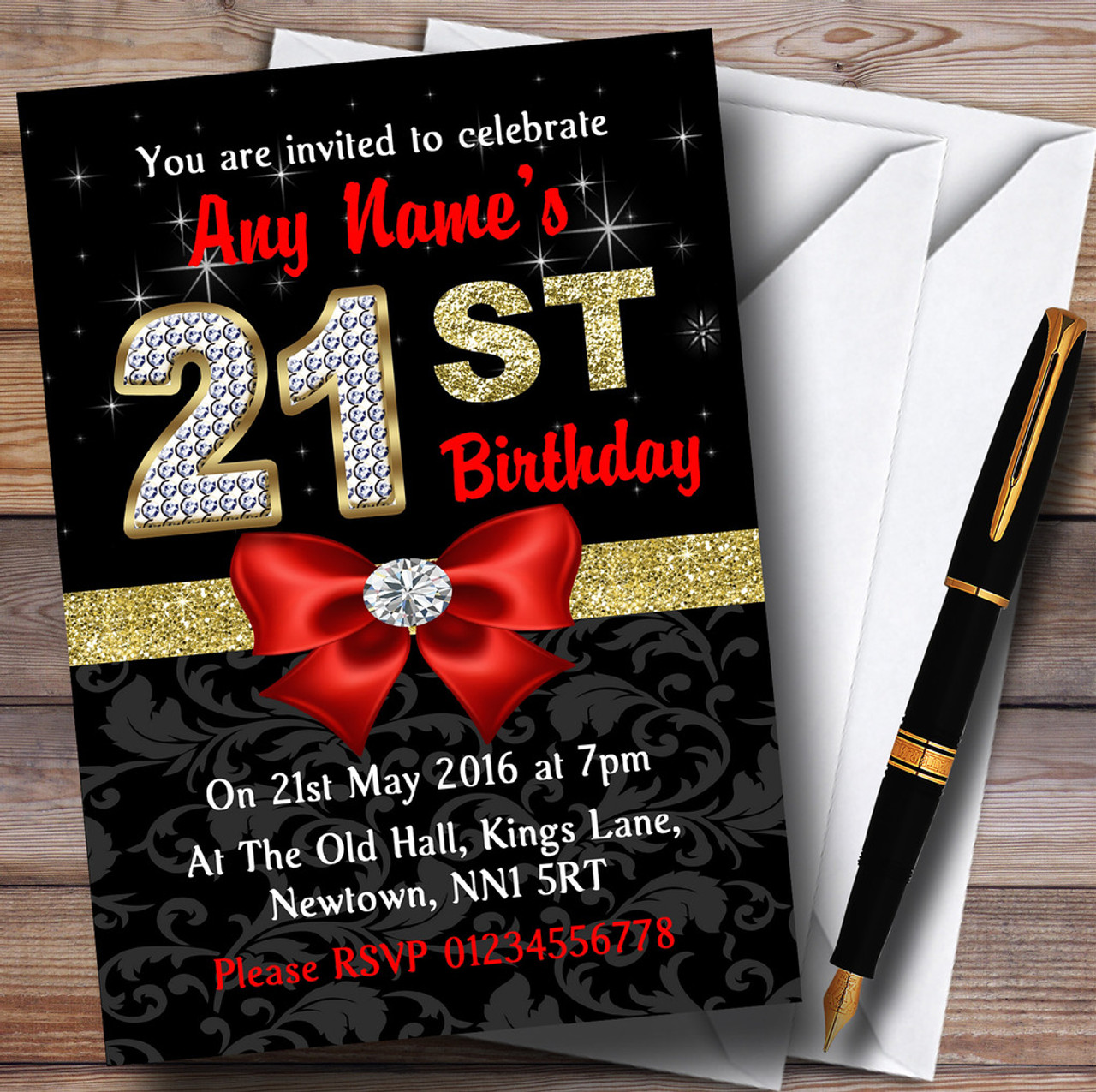 Red Black Gold Diamond 21St Birthday Party Personalised ...