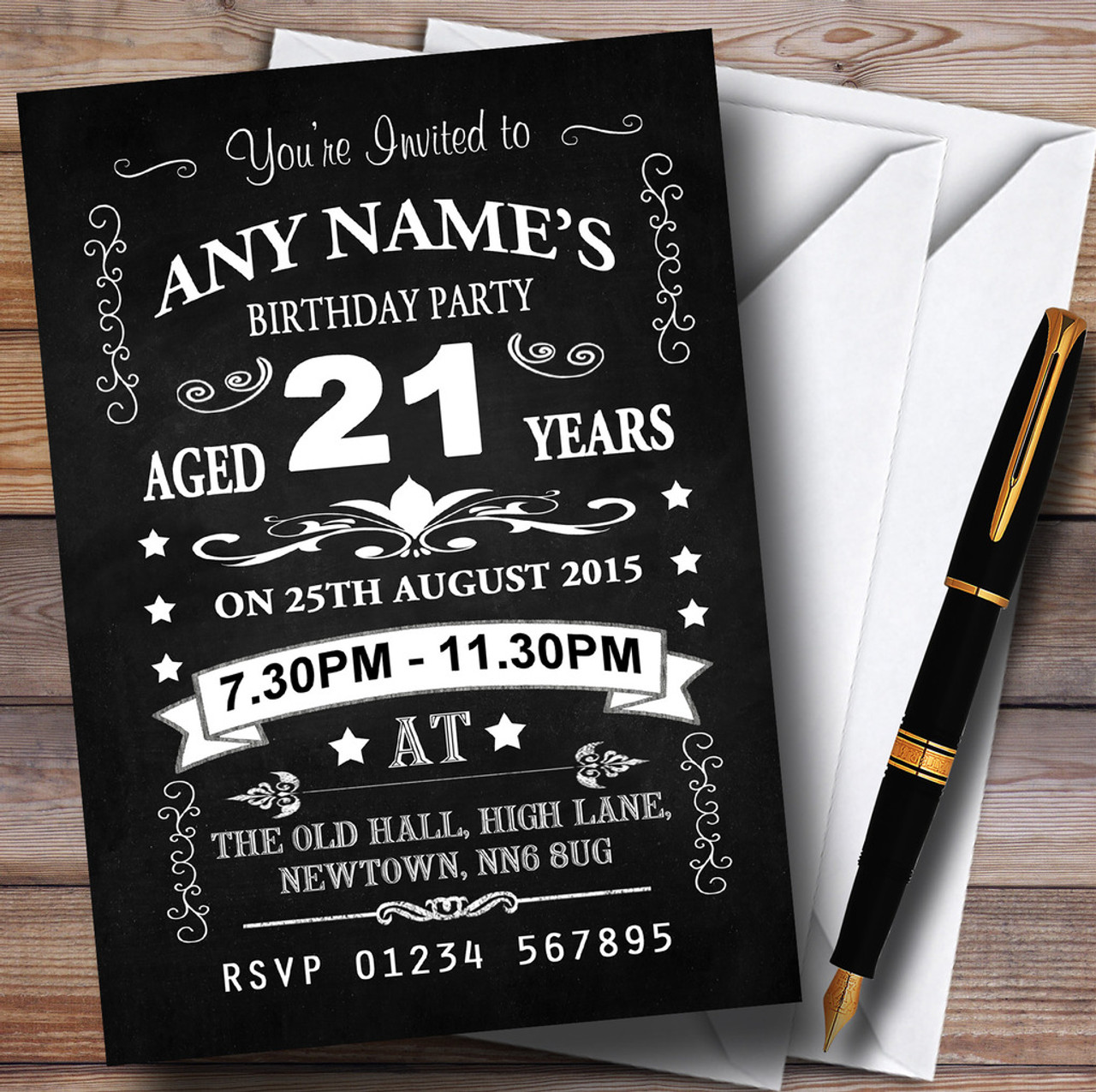 Vintage Chalkboard Style Black And White 21St Birthday Party – Personalised 21st Birthday Invitations