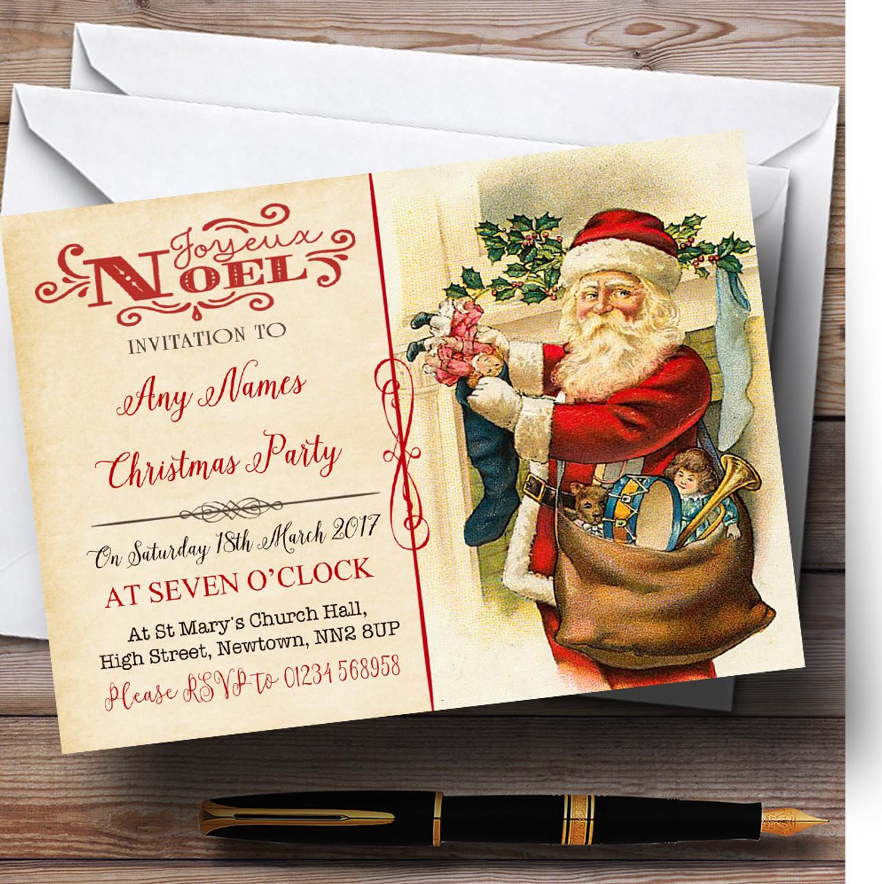 Noel Vintage Postcard Father Christmas Personalised Christmas ...