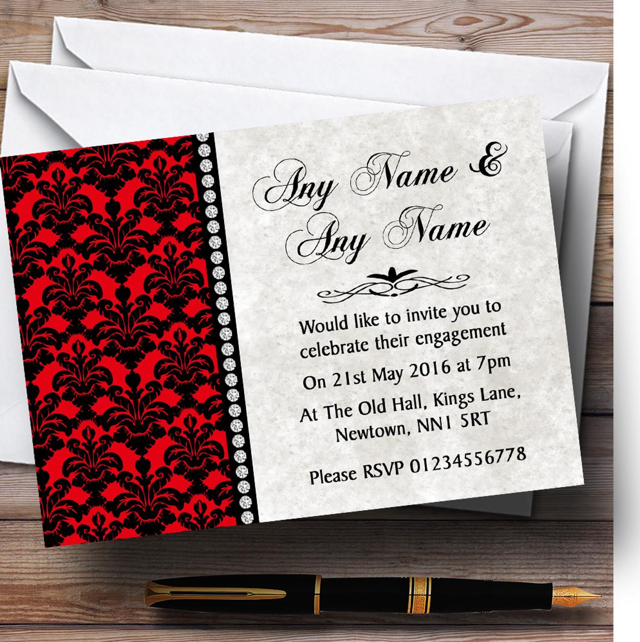 Deep Red Black Damask Diamond Personalised Engagement Party – Personalised Engagement Party Invitations