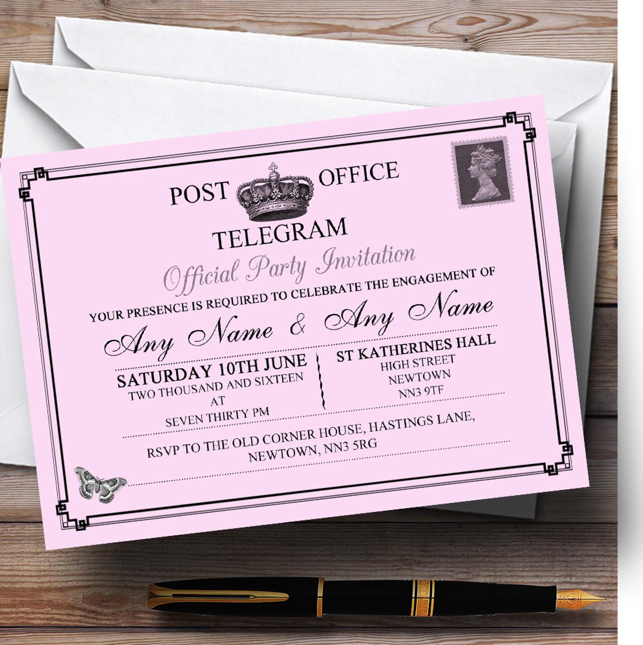 Vintage Telegram Elegant Pink Personalised Engagement Party – Personalised Engagement Party Invitations
