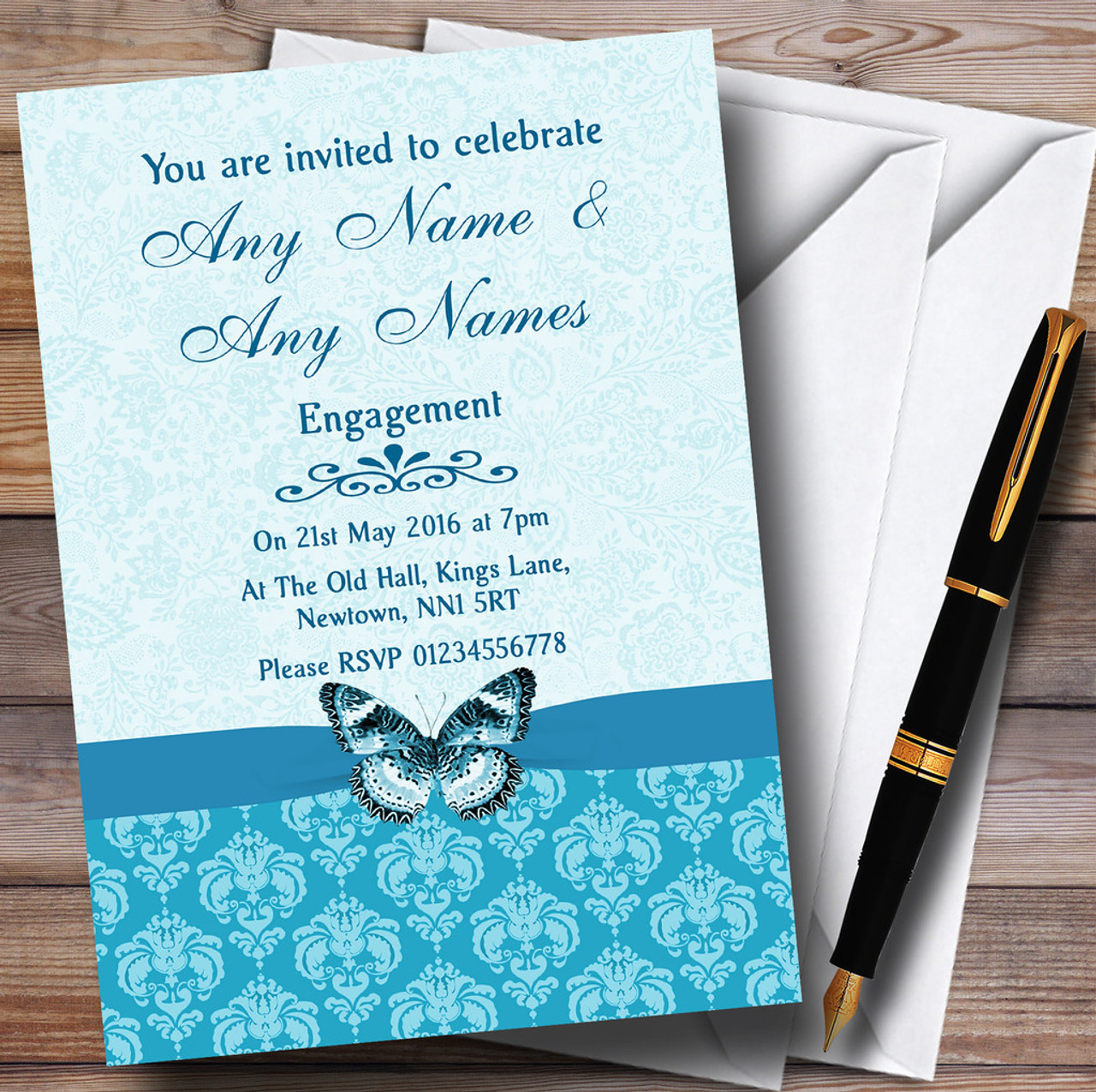 Tiffany Blue Turquoise Vintage Floral Damask Butterfly – Personalised Engagement Party Invitations