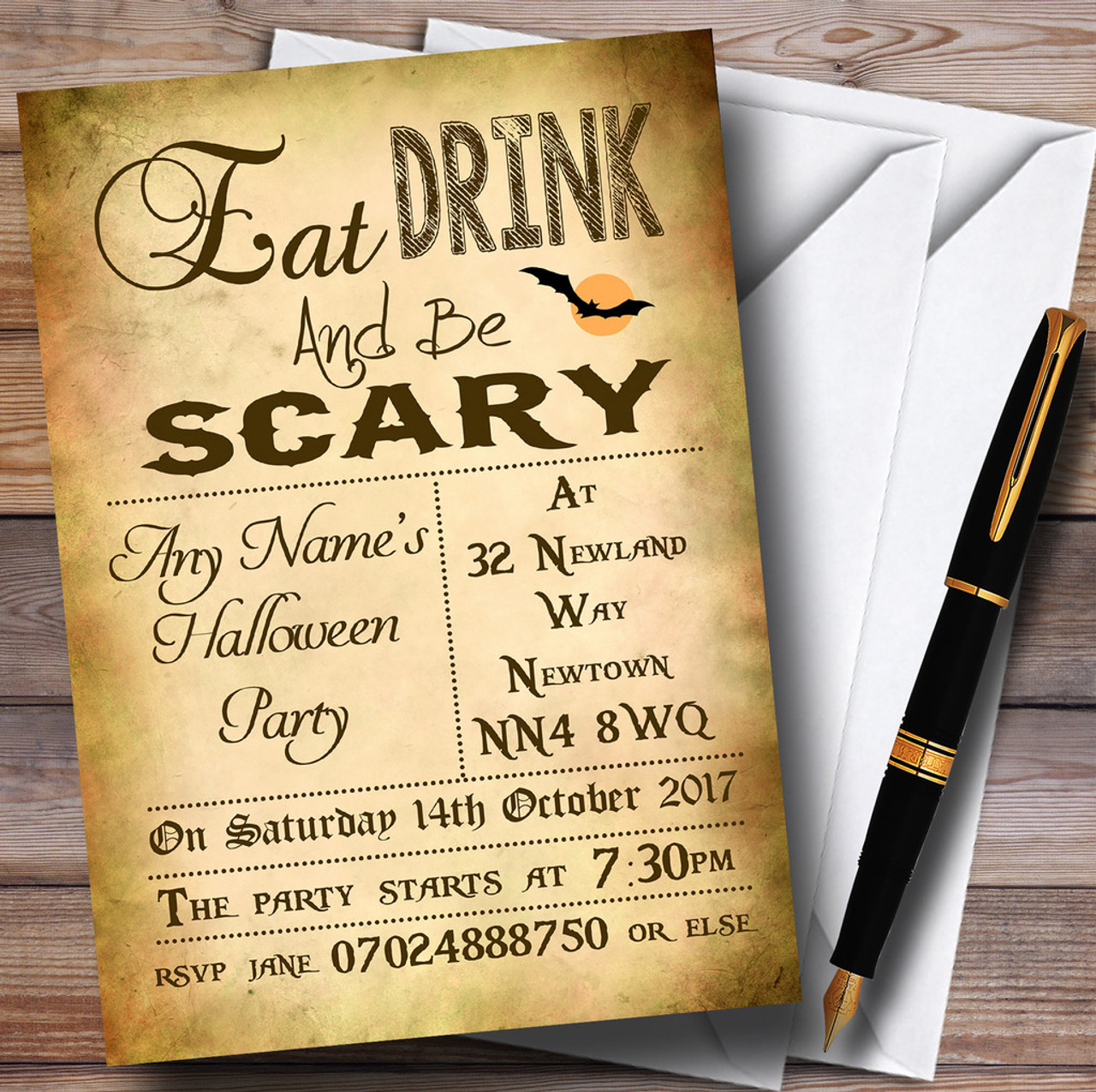Eat Drink Be Scary Personalised Halloween Party Invitations - The ...