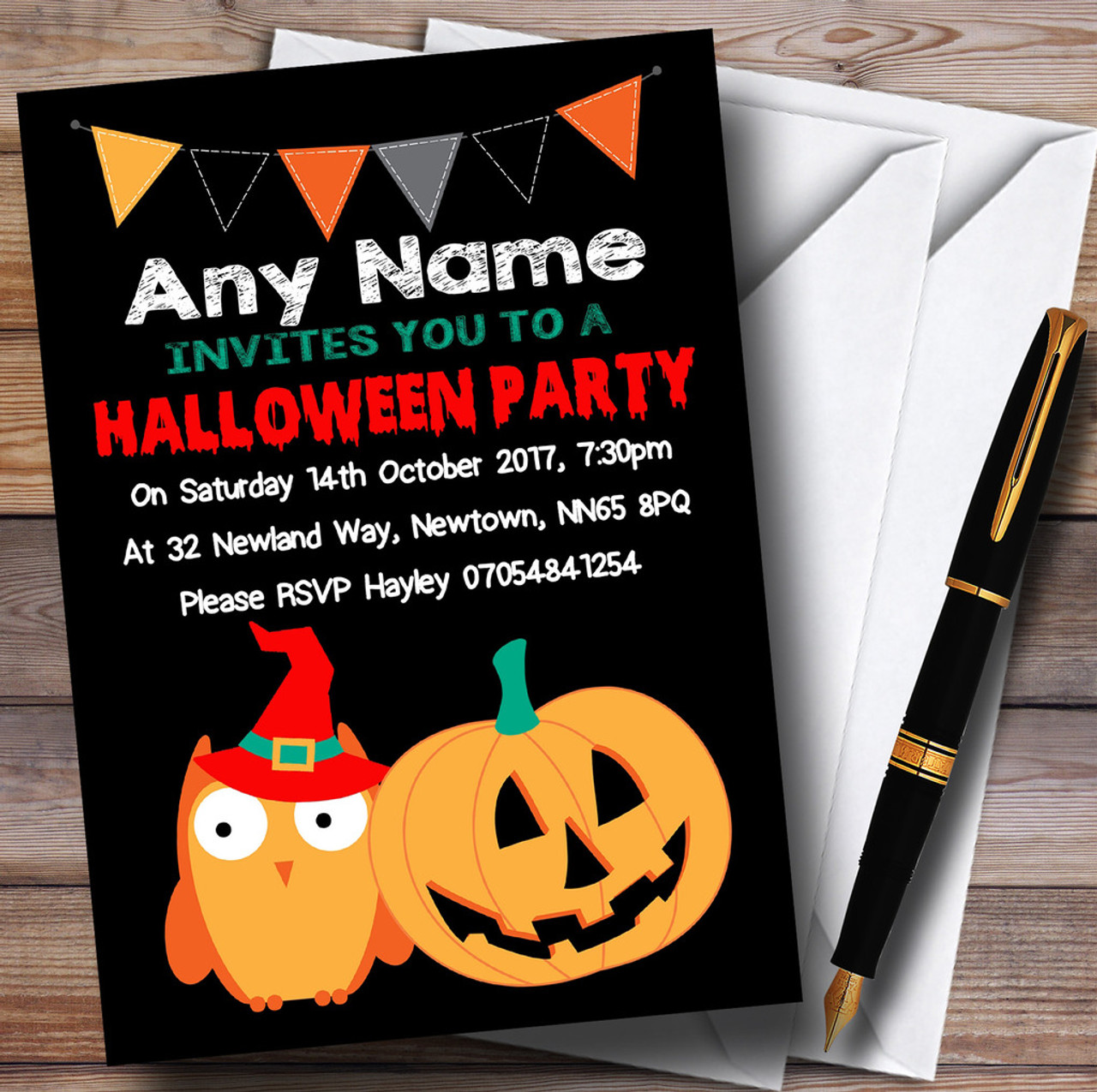 Owl & Pumpkin Scary Personalised Halloween Party Invitations - The ...