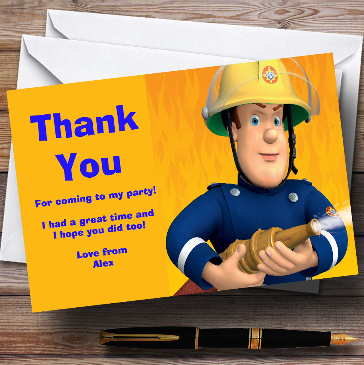 Fireman Sam Personalised Childrens Birthday Party Thank You Cards – Fireman Sam Birthday Cards