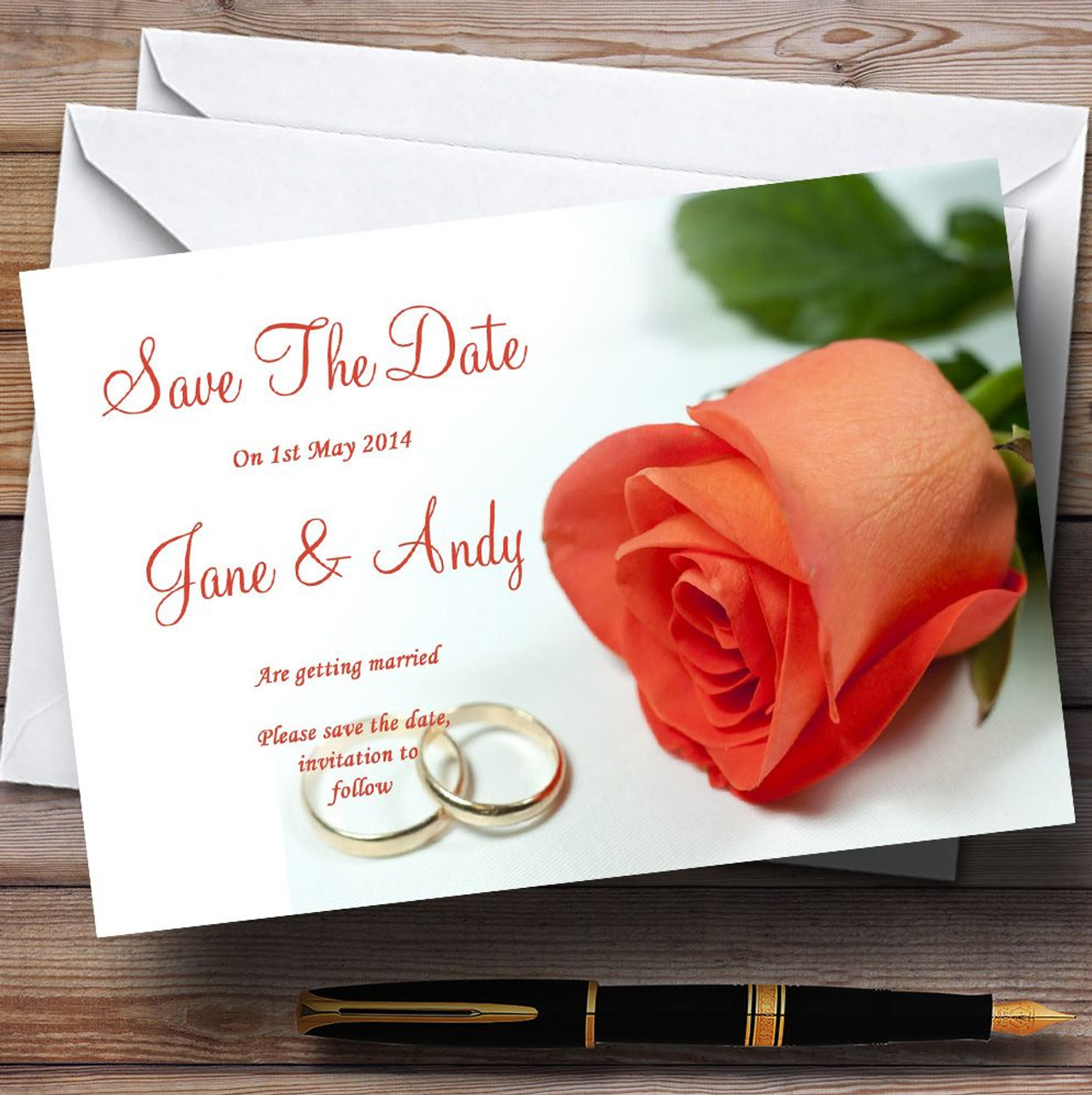 Orange Coral Peach Rose Rings Personalised Wedding Save The Date ...