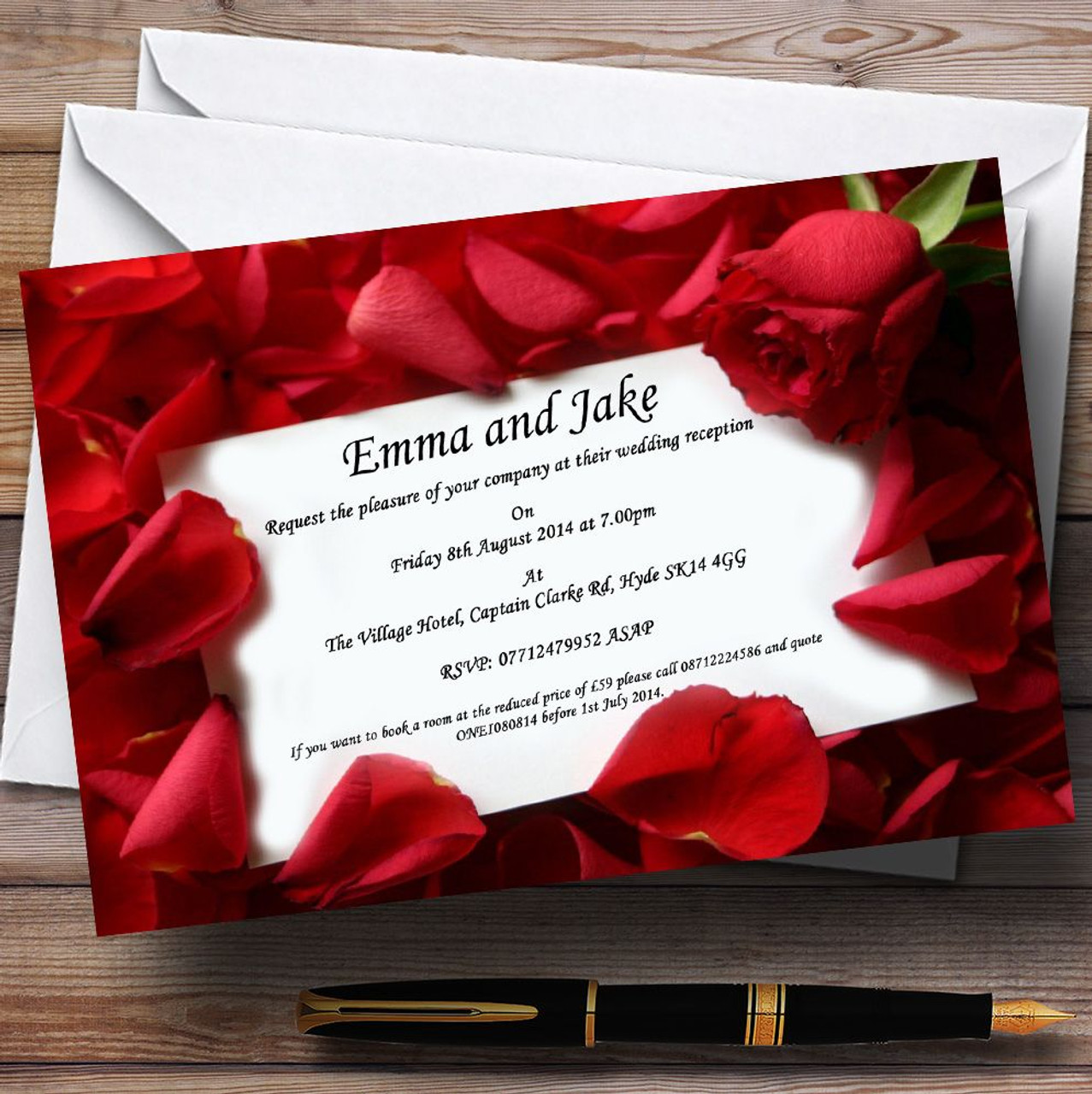 Red Rose Love Note Personalised Wedding Invitations The Card Zoo – Red Rose Wedding Invitation