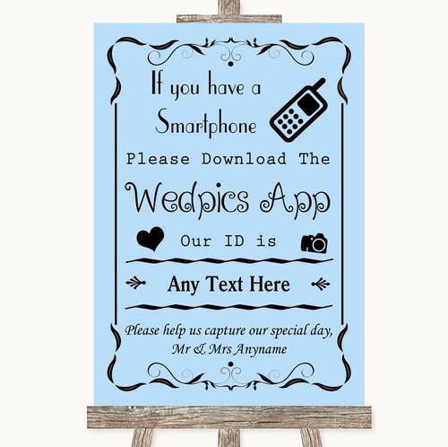 Blue Wedpics App Photos Personalised Wedding Sign