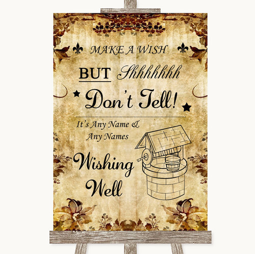 Autumn Vintage Wishing Well Message Personalised Wedding Sign