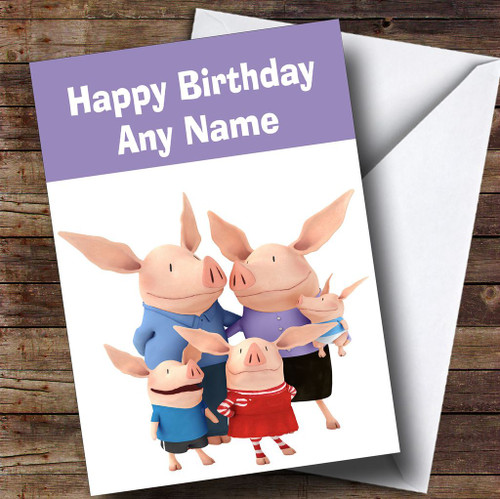 Olivia And Family Personalised Childrens Birthday Card The Card Zoo