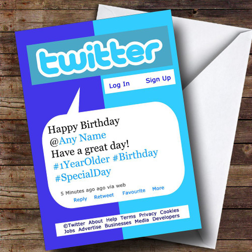 Funny Joke Spoof Twitter Tweet Personalised Birthday Card