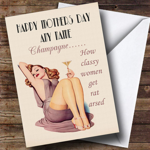 Funny joke retro classy wine personalised mother 39 s day for Classy mothers day cards