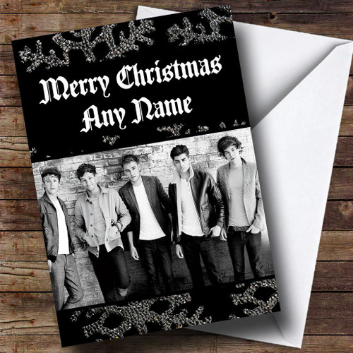 Black And White One Direction Personalised Christmas Card The – One Direction Personalised Birthday Card