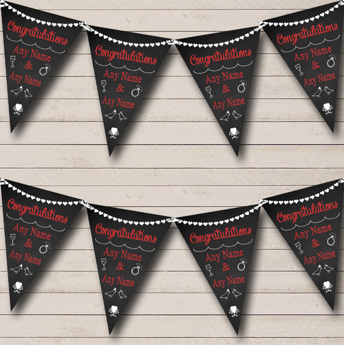 Chalkboard Congratulations Black White & Red Engagement Party Bunting