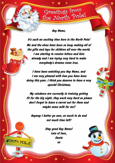 Red north pole personalised christmas letter from santa the card zoo red north pole personalised christmas letter from santa m4hsunfo