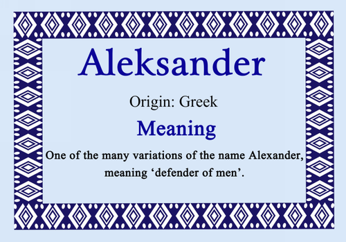 Aleksander Personalised Name Meaning Certificate The