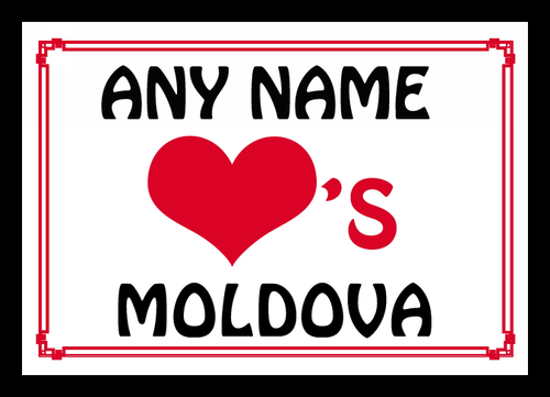 Love Heart Moldova Personalised Placemat