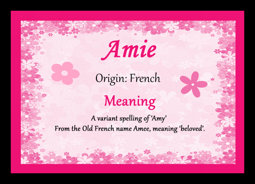 Amie Personalised Name Meaning Placemat The Card Zoo