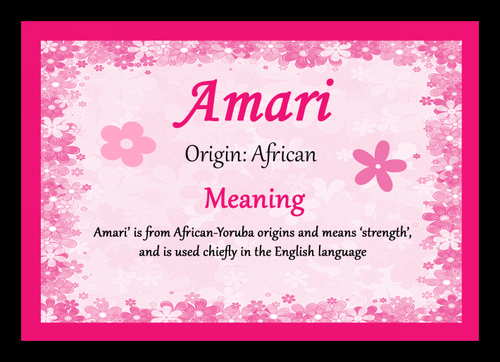 Amari Personalised Name Meaning Mousemat The Card Zoo