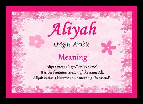 Aliyah Personalised Name Meaning Mousemat The Card Zoo