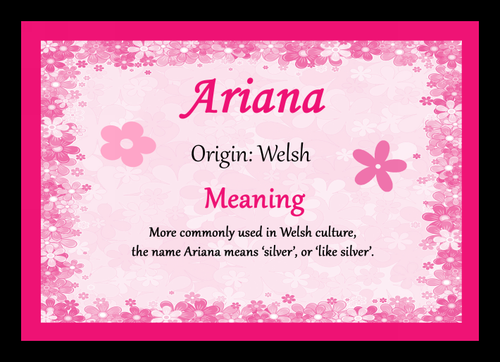 Ariana Personalised Name Meaning Mousemat The Card Zoo