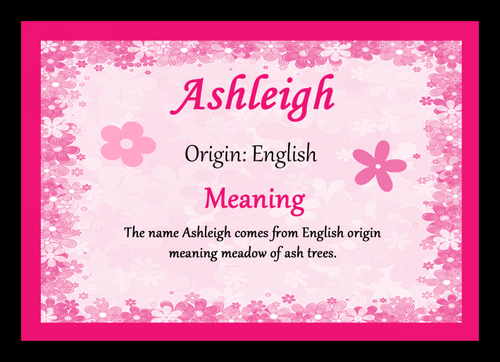 Ashleigh Personalised Name Meaning Mousemat The Card Zoo