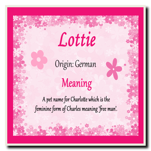 Lottie Personalised Name Meaning Coaster The Card Zoo