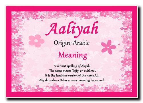 Aaliyah Personalised Name Meaning Jumbo Magnet