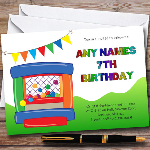 Bright Rainbow Colours Theme Personalised Birthday Party – Bouncy Castle Party Invitations