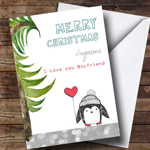 Boyfriend Penguin Personalised Christmas Card