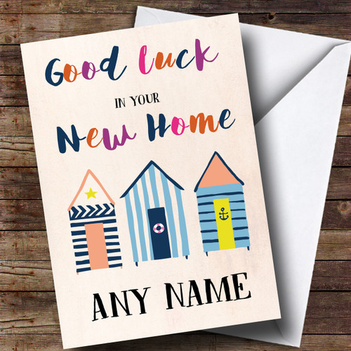 beach huts colourful new home personalised card the card zoo