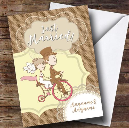 Couple Bike Wedding Day Personalised Card