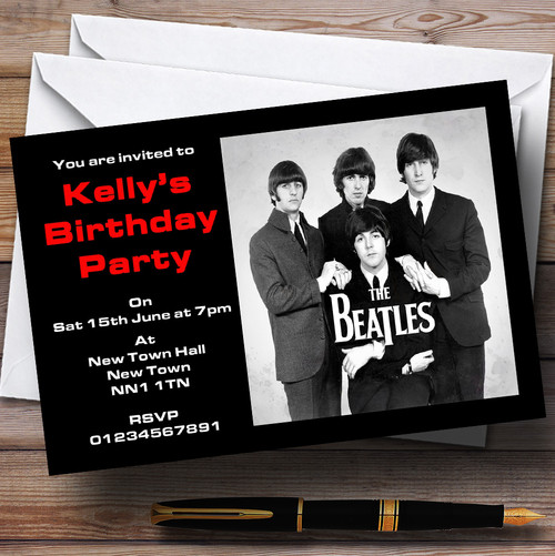 The Beatles Theme Personalised Party Invitations The Card Zoo – Beatles Party Invitations
