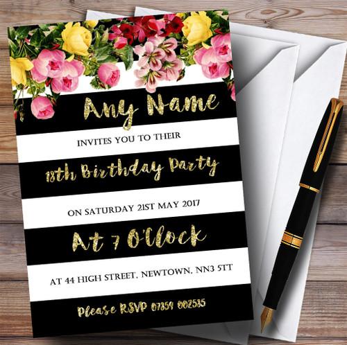 Pink Black Gold Diamond 18Th Birthday Party Personalised – Personalised 18th Birthday Invitations