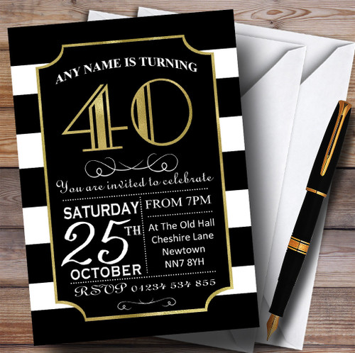 Personalised party invitations birthday party invitations black white stripy gold 40th personalised birthday party invitations filmwisefo