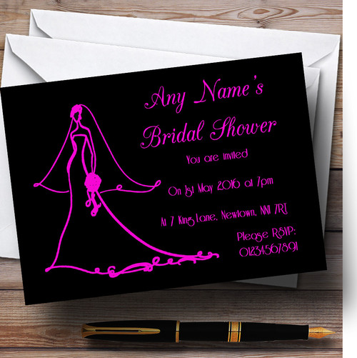 Pink Elegant Personalised Bridal Shower Party Invitations