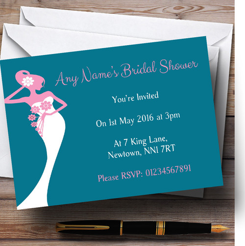 Pink Turquoise Bride Personalised Bridal Shower Party Invitations