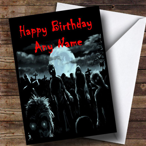 Zombies And Monsters Scary Funny Personalised Birthday Card