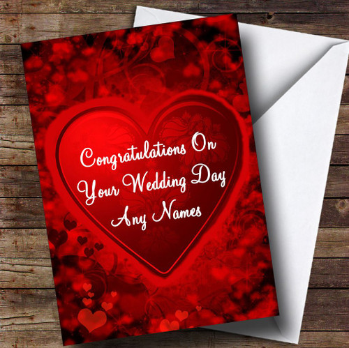 Red And Black Love Heart Romantic Personalised Wedding Day Card