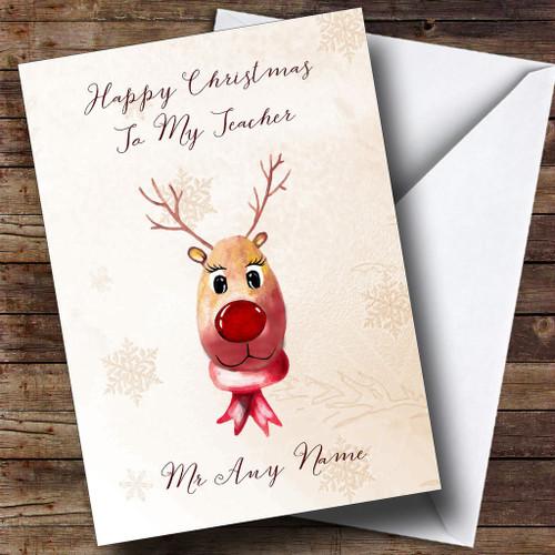 Cute reindeer teacher personalised christmas card the card zoo cute reindeer teacher personalised christmas card m4hsunfo