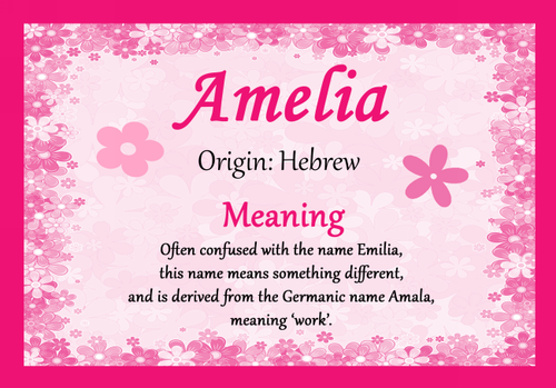 amelia personalised name meaning certificate