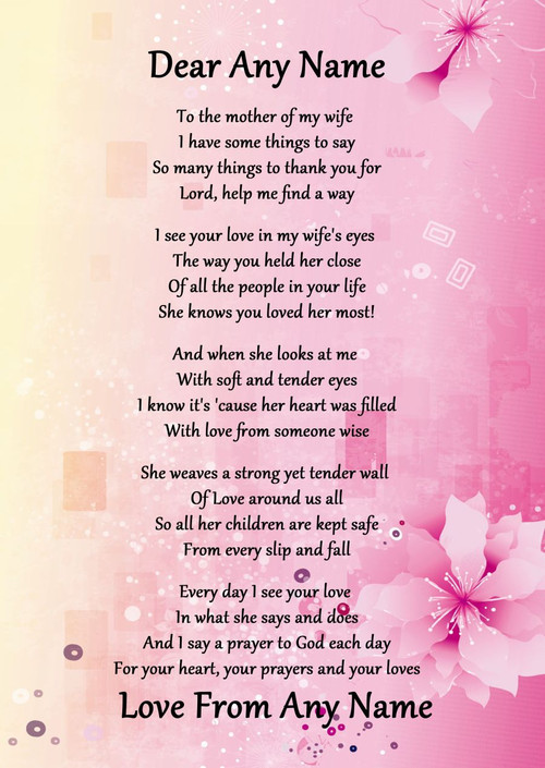 Pink & Yellow My Wife's Mother Personalised Poem ...