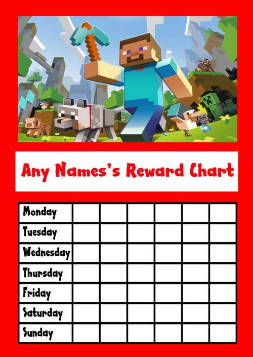 Red Minecraft Star Sticker Reward Chart The Card Zoo