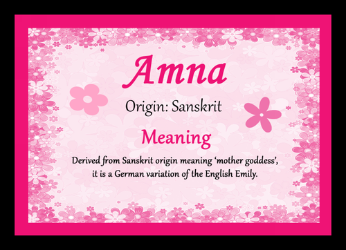 Amna Personalised Name Meaning Placemat The Card Zoo