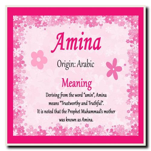 amina personalised name meaning coaster