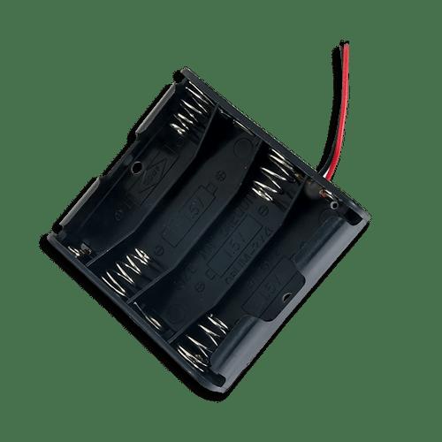 Battery Holder (4 x AA) empty, oblique.